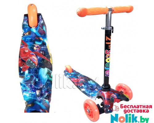 Самокат детский трехколесный 21st Scooter Mini принт, светящиеся колеса. Цвет оранжевый космос. Арт. 038z в Минске