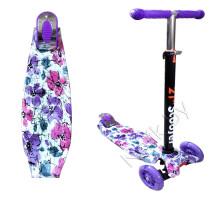 Самокат детский Scooter 21st Maxi Принт (Print) детский  до 60 кг  (светящиеся колеса, в коробке). Цвет сиреневый в цветы. Арт. 036Z