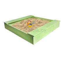 Песочница детская деревянная с лавочкой для дома и дачи. Размер 105*100 см. Высота 14 см. Цвет салатовый. Арт. П-100Л