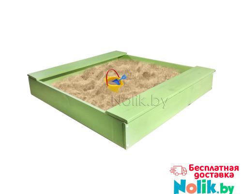 Песочница детская деревянная с лавочкой для дома и дачи. Размер 105*100 см. Высота 14 см. Цвет салатовый. Арт. П-100Л в Минске