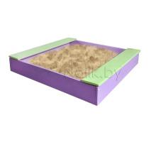 Песочница детская с лавочкой деревянная для дома и дачи. Размер 105*100 см. Высота 14 см. Цвет сиреневый с салатовым. Арт. П-100Л