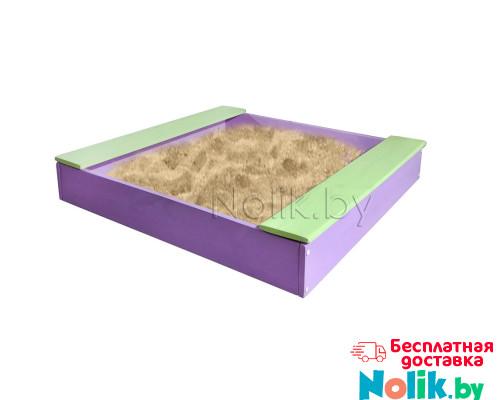 Песочница детская с лавочкой деревянная для дома и дачи. Размер 105*100 см. Высота 14 см. Цвет сиреневый с салатовым. Арт. П-100Л в Минске