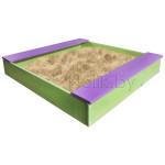 Песочница детская с лавочкой деревянная для дома и дачи. Размер 105*100 см. Высота 14 см. Цвет салатовый с сиреневым. Арт. П-100Л