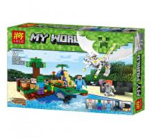 Конструктор Майнкрафт Нападение белого дракона 318 деталей, аналог Лего Minecraft. Арт. 33243
