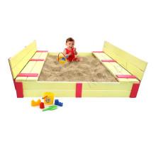 Песочница детская деревянная с крышкой и скамейками трансформер. Размер 150х150 см. Глубина 24 см. Желтый с красными вставками. Арт. ПС-0001