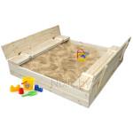 Детская песочница деревянная с крышкой и лавочкой большая (трансформер). Размер 150 х 150 см. Глубина 24 см, (песочница для дачи и детского сада) Арт. ПС-0002Н Цвет естественный