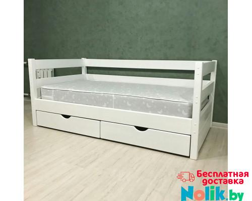 Кровать детская деревянная из массива с ящиками и ламелями Магия. Цвет белый. Размер 200*90.  в Минске