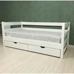 Кровать детская деревянная из массива с ящиками и ламелями Магия. Цвет белый. Размер 200*90.