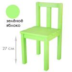 Детский деревянный большой стульчик. Высота до сиденья 27 см. Цвет зеленое яблоко. Арт. СВ27-z