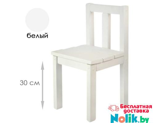 Стульчик детский деревянный окрашенный из массива (от 4 до 8 лет). Высота до сиденья 30 см. Цвет белый. Арт. СВ30-s в Минске