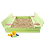 Детская большая песочница деревянная с крышкой и лавочкой (трансформер). Размер 150 х 150 см. Глубина 24 см, (песочница для дачи и детского сада) Арт. ПС-0002 Цвет салатовый с розовым