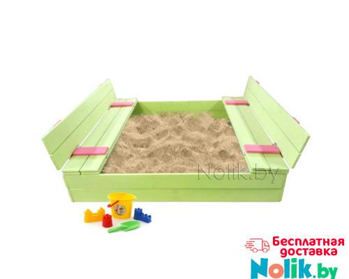Детская большая песочница деревянная с крышкой и лавочкой (трансформер). Размер 150 х 150 см. Глубина 24 см, (песочница для дачи и детского сада) Арт. ПС-0002 Цвет салатовый с розовым в Минске