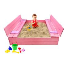 Песочница детская деревянная с крышкой и лавочкой большая (трансформер). Размер 150 х 150 см. Глубина 24 см, (песочница для дачи и детского сада) Арт. ПС-0002 Цвет розовый с сиреневым
