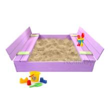 Песочница детская деревянная с крышкой и лавочкой большая (трансформер). Размер 150 х 150 см. Глубина 24 см, (песочница для дачи и детского сада) Арт. ПС-0002 Цвет сиреневый с салатовым