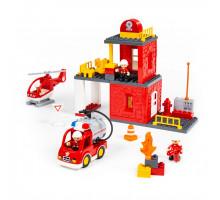 """Конструктор """"Макси"""" - """"Пожарная станция"""" (64 элемента) (в коробке). Совместим с Лего Дупло (LEGO Duplo). арт. 77516. Полесье"""