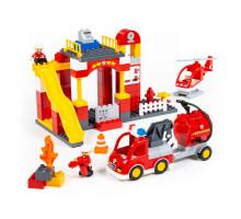 """Конструктор """"Макси"""" - """"Пожарная станция"""" (81 элемент) (в коробке). Совместим с Лего Дупло (LEGO Duplo). арт. 77509. Полесье"""