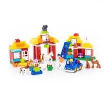 """Конструктор """"Макси"""" - """"Весёлая ферма"""" (156 элементов) (в коробке). Совместим с Лего Дупло (LEGO Duplo). арт. 77592. Полесье"""