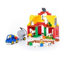 """Конструктор """"Макси"""" - """"Весёлая ферма"""" (65 элементов) (в коробке). Совместим с Лего Дупло (LEGO Duplo). арт. 77561. Полесье"""