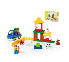 """Конструктор """"Макси"""" - """"Весёлая ферма"""" (39 элементов) (в коробке). Совместим с Лего Дупло (LEGO Duplo). арт. 77585. Полесье"""