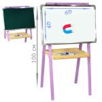 Детский мольберт для рисования (доска для рисования на ножках) двусторонний высота 100 см. Цвет лиловый. Арт. 4060-100