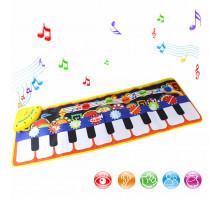 Напольный коврик синтезатор 110*36 см. Музыкальный коврик пианино 2 в 1 (коврик и пианино). Арт. LT3906