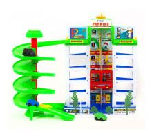 Паркинг детский 6-и уровневый со спиральным спуском и лифтом и 4 автомобилями. Забавная парковка. Арт. 922