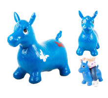 Попрыгунчик надувной резиновый детский ослик (лошадка). Цвет синий. Арт. D27990