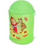 Корзина для хранения игрушек Маша и Медведь. Цвет зеленый. Арт. D27922
