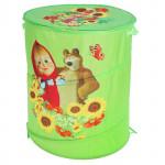 Корзина для игрушек Маша и Медведь с крышкой на липучке. Цвет зеленый. Арт. D27922