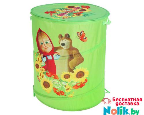 Корзина для игрушек Маша и Медведь с крышкой на липучке. Цвет зеленый. Арт. D27922 в Минске