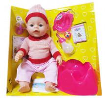 Кукла Baby Doll Ляля с горшком и аксессуарами 9 функций закрывает глаза. Аналог Baby Born. Цвет в розовом свитере и шапочке. Арт. 8001-FR