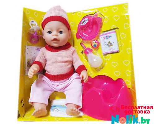 Кукла Baby Doll Ляля с горшком и аксессуарами 9 функций закрывает глаза. Аналог Baby Born. Цвет в розовом свитере и шапочке. Арт. 8001-FR в Минске