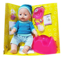 Кукла Baby Doll Ляля с горшком и аксессуарами 9 функций закрывает глаза. Аналог Baby Born. Цвет в голубом свитере и шапочке. Арт. 8001-FR