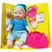 Кукла Baby Doll Ляля с горшком и аксессуарами 9 функций закрывает глаза. Аналог Baby Born. Цвет в голубом свитере и шапочке. Арт. 8001-FR в Минске