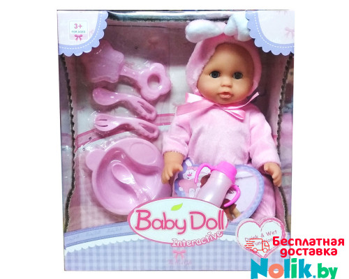 Интерактивный пупс Baby Doll с аксессуарами (писает, пьет). 24 см. Цвет в розовом. Арт. YL1707C в Минске