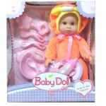 Интерактивный пупс Baby Doll с аксессуарами (писает, пьет). Цвет в оранжевом. Арт. YL1707C