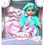 Кукла пупс Baby Doll с аксессуарами (писает, пьет). Цвет в бирюзовом. Арт. YL1707C