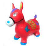 Прыгун надувной резиновый ослик (лошадка). Цвет красный. Арт. D27991