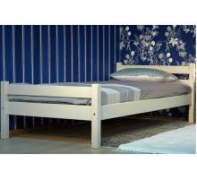 Детская деревянная кровать с ламелями из массива. Размер 200х90 см. Белый цвет. Арт. Комфорт-200