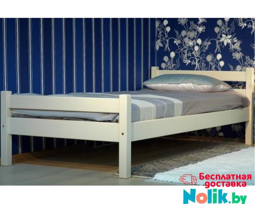 Детская деревянная кровать с ламелями из массива. Размер 200х90 см. Белый цвет. Арт. Комфорт-200 в Минске