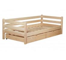 Кровать детская деревянная из массива с ящиками и ламелями Магия. Цвет естественный. Размер 200*90. Арт. Магия-200N