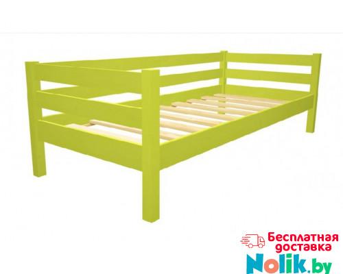 Кровать детская деревянная из массива с ламелями Магия. Цвет зеленое яблоко. Размер 200*90. Арт. Магия-200z в Минске