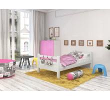 Кровать детская из массива, деревянная кровать с ламелями. Размер 200х90 см. Цвет белый. Арт. Комфорт-Макси-200