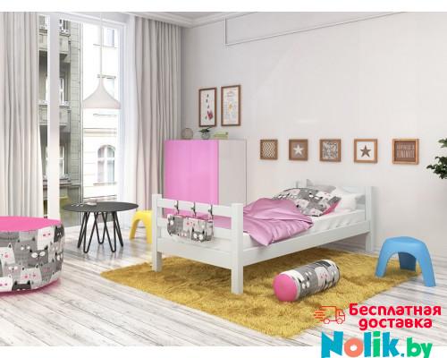 Кровать детская из массива, деревянная кровать с ламелями. Размер 200х90 см. Цвет белый. Арт. Комфорт-Макси-200 в Минске