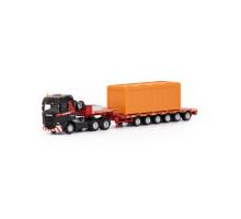 Игрушка машинка-трейлер тягач SCANIA Streamline Highline 6x4 + semi low loader 6 axle MAMMOET TOYS арт. 71-2028. Полесье