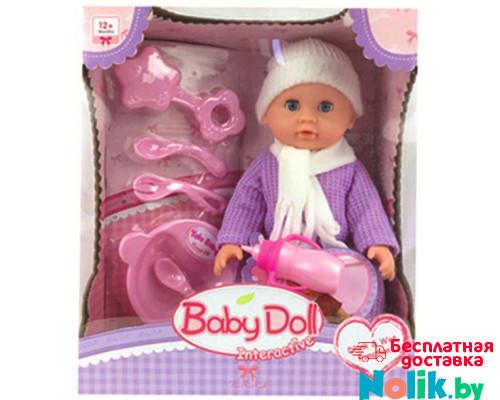 Интерактивная кукла-пупс Baby Doll с набором для кормления (пьет, писает), 24 см, Цвет сиреневый. Арт. YL1707I в Минске