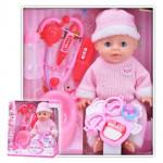 Детская кукла пупс Baby Doll + набор доктора, горшок и соска (пьет, писает), 35 см. Цвет розовый. Арт. YL1713F
