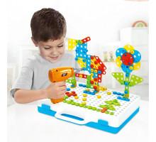 Конcтруктор Creative Mosaic с шуруповертом на батарейках 4 в 1 (3D-конструктор), 237 деталей. Арт. 608
