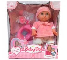 Интерактивный пупс Baby Doll с аксессуарами (горшок, бутылочка, соска). 33 см. Цвет в розовом. Арт. YL1704H