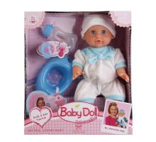 Интерактивный пупс Baby Doll с аксессуарами (горшок, бутылочка, соска). 33 см. Цвет в голубом. Арт. YL1704H